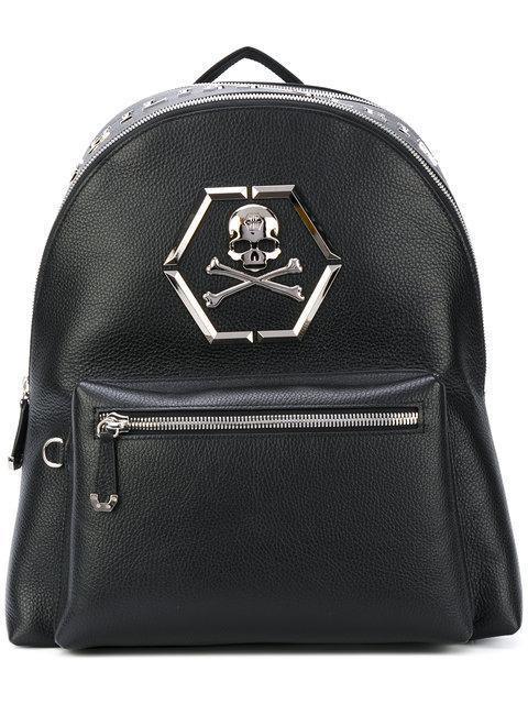 """Philipp Plein Backpack """"eric"""" In Black/nickel"""