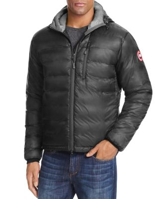 Canada Goose Lodge Hooded Down Jacket In Graphite/mid Grey