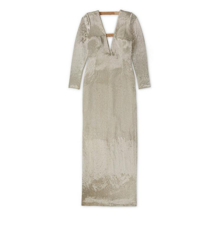 Tom Ford Bugle Bead Embroidered Gown With Deep Neckline In Metallicsilver