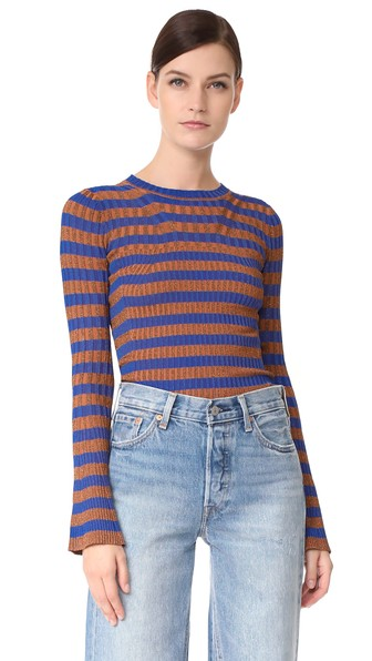 By Malene Birger Striped Metallic Ribbed-knit Sweater In Cobalt Blue