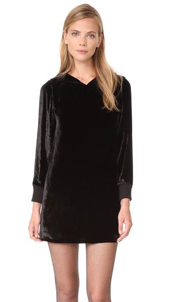 Alice And Olivia Baron A-line Hooded Velvet Dress In Black