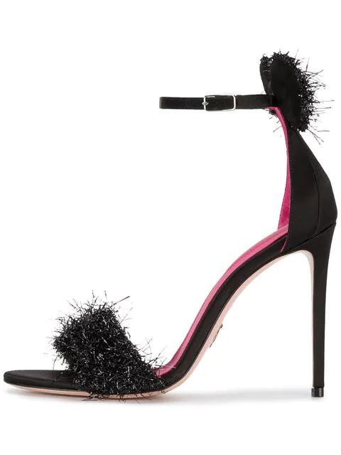 Oscar Tiye Black Minnie Disco 120 Tinsel Sandals
