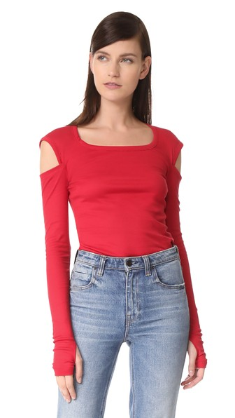 Helmut Lang Cutout Cotton-jersey Top In Coral