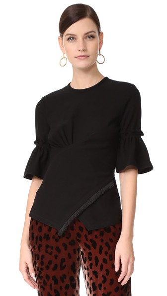 Yigal AzrouËl Smocked Sleeve Top In Black