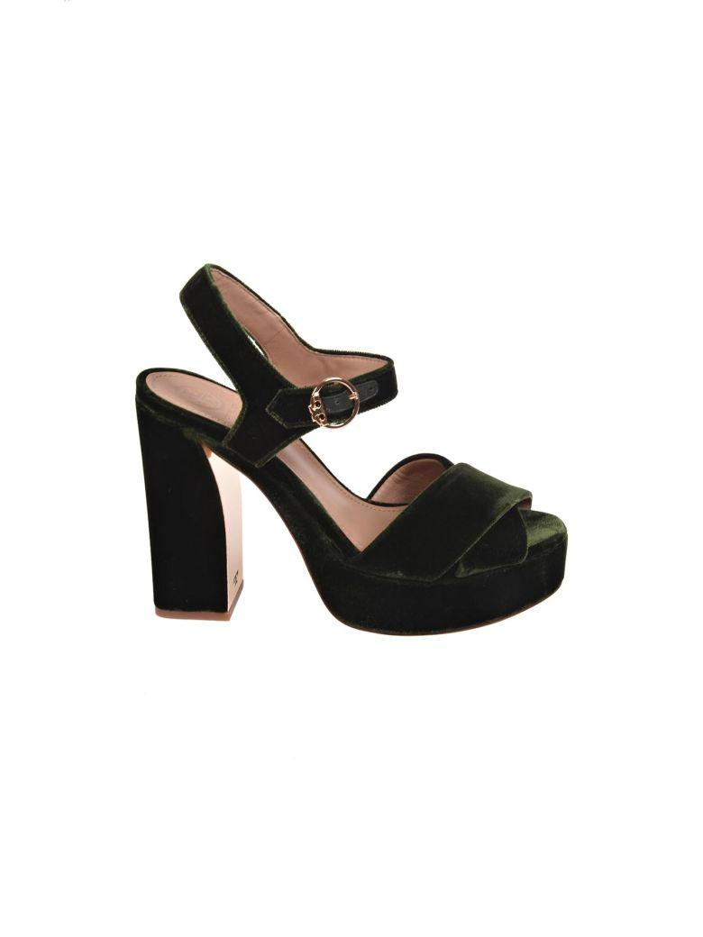 6670f295ea6c Tory Burch Loretta Velvet Platform Sandals In Khaki