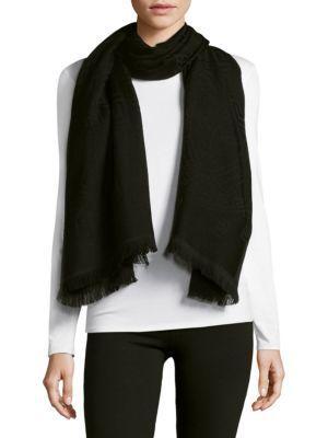 Versace Fringe End Wool Scarf In Black