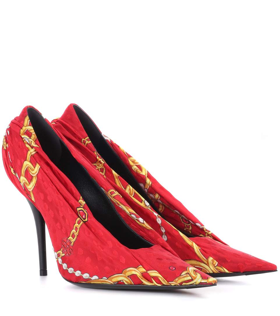 Balenciaga Knife Jacquard And Leather Pumps In Red