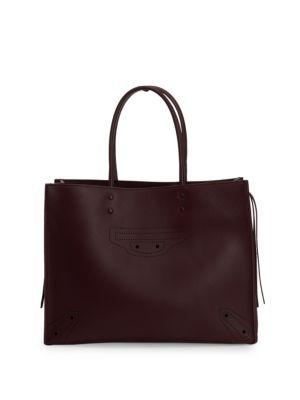 Balenciaga Papier Zip Around Blackout Tote In Rouge