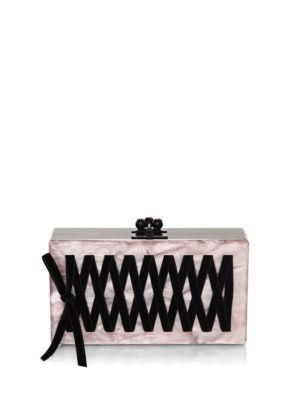 Edie Parker Jean Corset Clutch In Rose Quartz