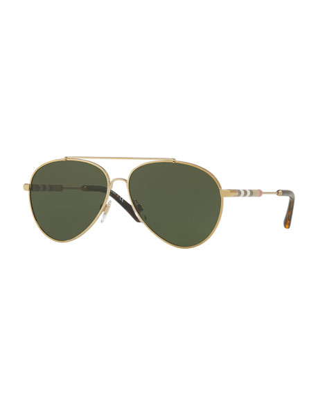 Burberry Aviator Sunglasses With Check Temples, Rose Gold In Green