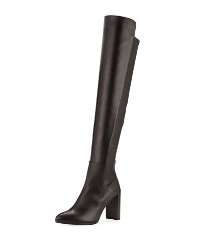 Stuart Weitzman Allhyped Stretch Leather Over-the-knee Boot In Nero