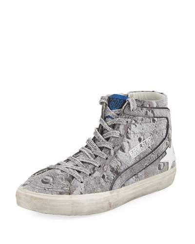 Golden Goose Slide Distressed Glitter High-top Sneakers In Silver