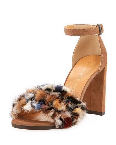 Stuart Weitzman Icelandia Mink-fur Chunky-heel Sandals In Taupey Mink