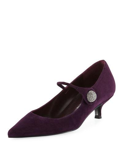 Stuart Weitzman Playball Suede Mary Jane Pump In Berry