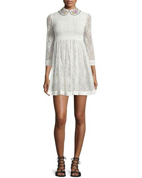 Red Valentino 3/4-sleeve Lace Mini Dress, Ivory