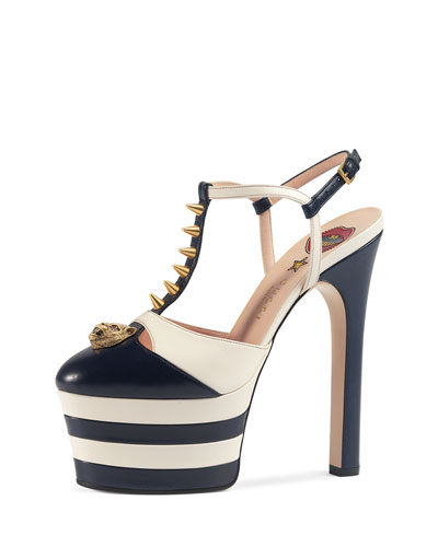d403882d998 Gucci Angel Spike-Embellished Leather Platform Sandals In Blue And White  Leather