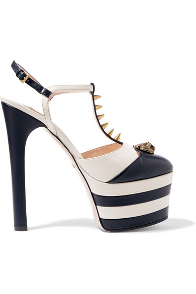 201c9cf9dbb Striped leather platform pumps