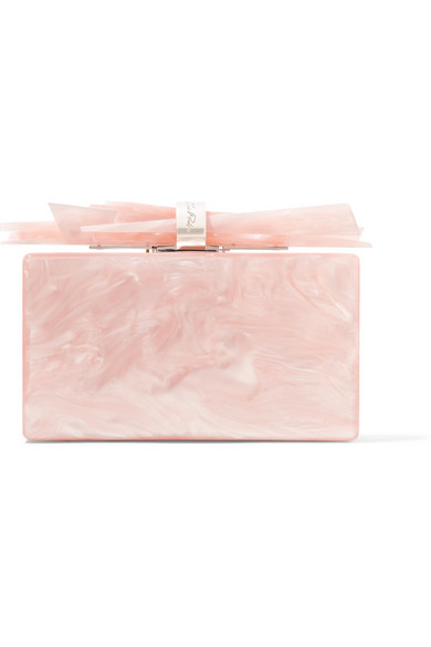 Edie Parker Wolf Glittered Acrylic Clutch Bag In Pink