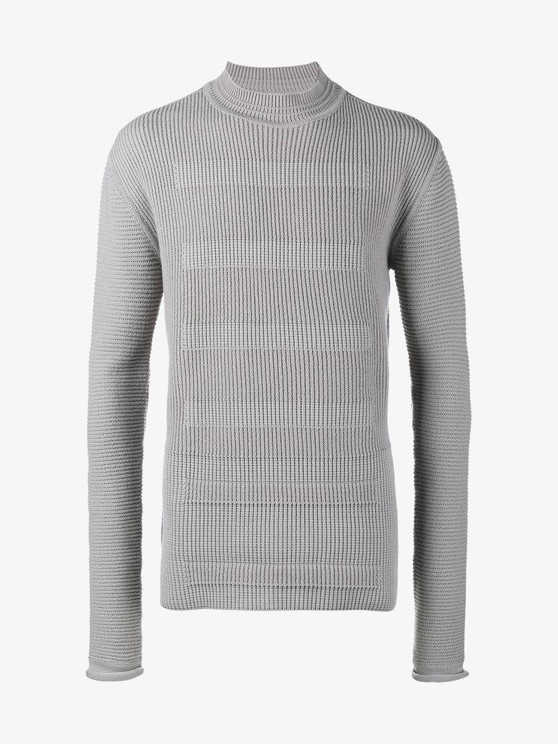 Rick Owens Ribbed Knitted Sweater In Grey