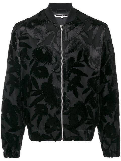 Mcq By Alexander Mcqueen Multi-layer Floral Bomber Jacket In Darkest Black