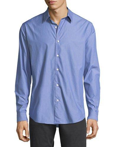 Theory Stacked Stripe Cotton Shirt In Blue Stripe