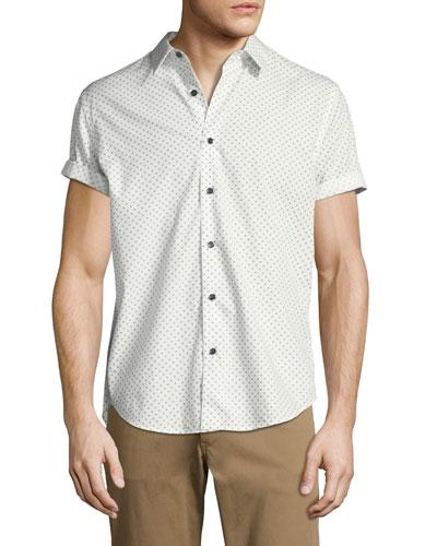 Theory Stitch Print Regular Fit Button-down Shirt In Ivory Multi