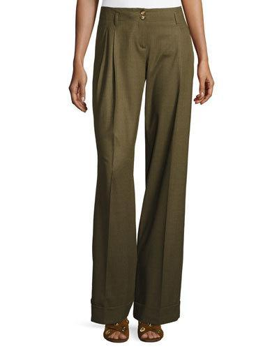 Michael Kors Wide-leg Pleated Pants, Tropical/olive