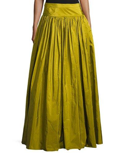 Michael Kors Ruffled Silk Ball Skirt, Green