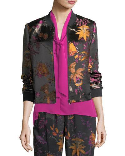 Kobi Halperin Laicey Floral-print Silk Bomber Jacket In Dragon Fruit Mult
