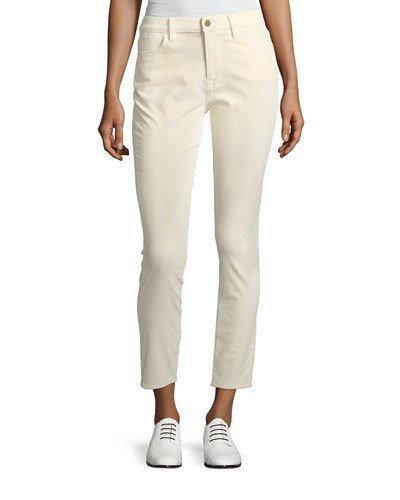 Frame Le Velveteen High-rise Skinny Jeans In White