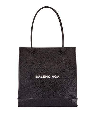 Balenciaga Grained Leather Shopping Tote Bag In Black/white