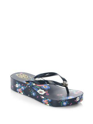 Tory Burch Wedge Thin Flip Flops In Pansy Bouquet