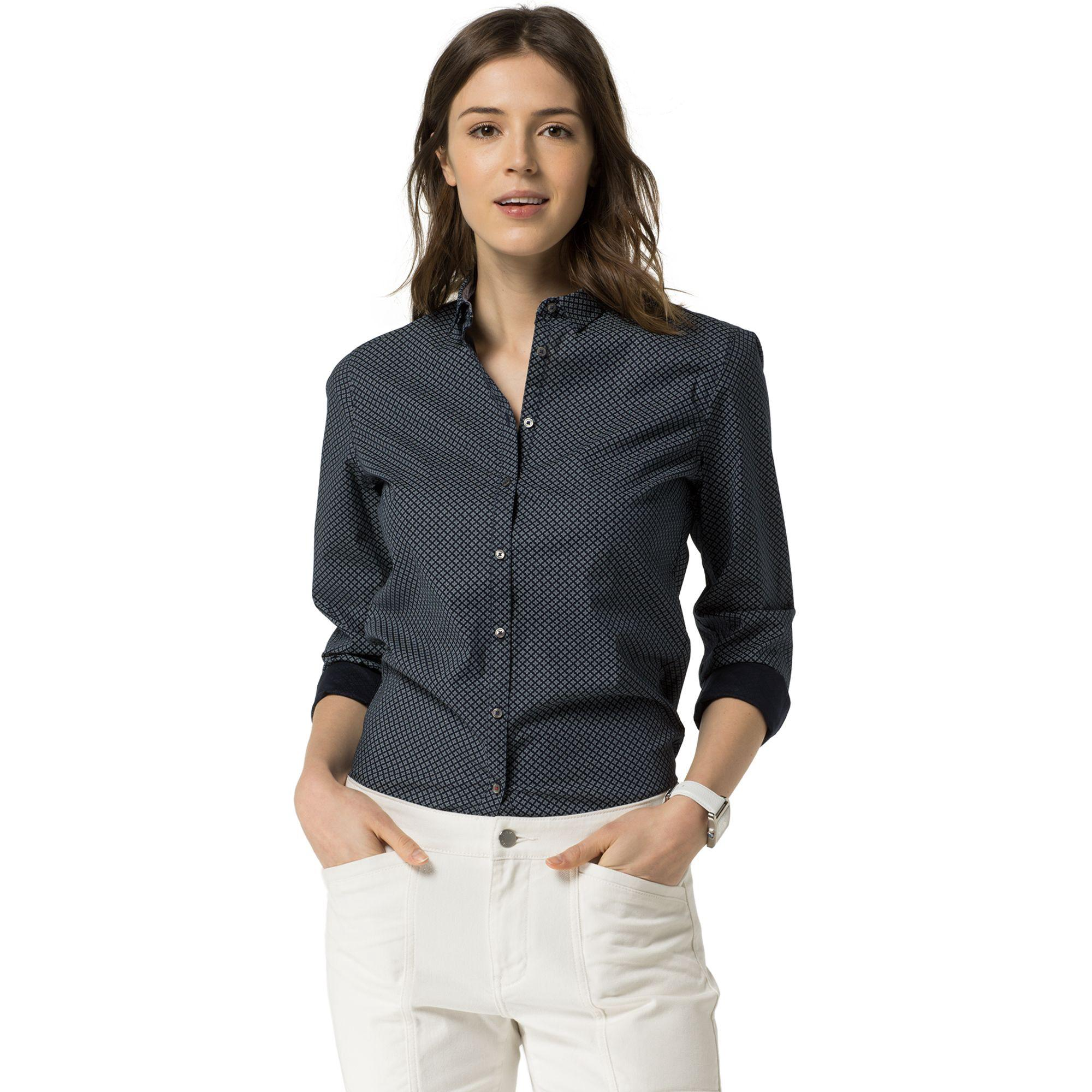 7e084699 Tommy Hilfiger Micro Print Shirt - Carina Prt Navy Blazer   ModeSens