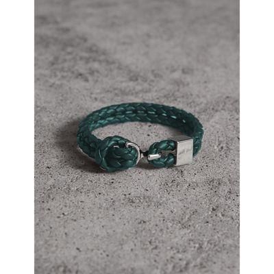 Burberry Braided Leather Bracelet In Dark Teal