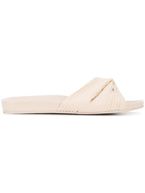 Opening Ceremony Woman Twisted Leather Slides Neutral In Nude & Neutrals