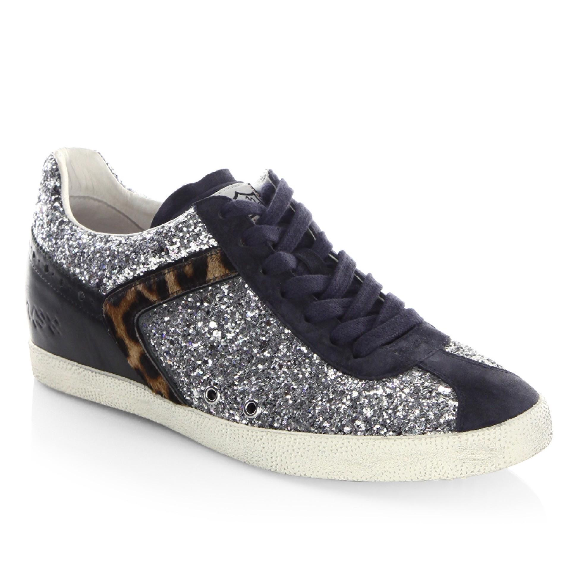 Ash Everest Glitter & Calf Hair Sneakers In Everest Silver