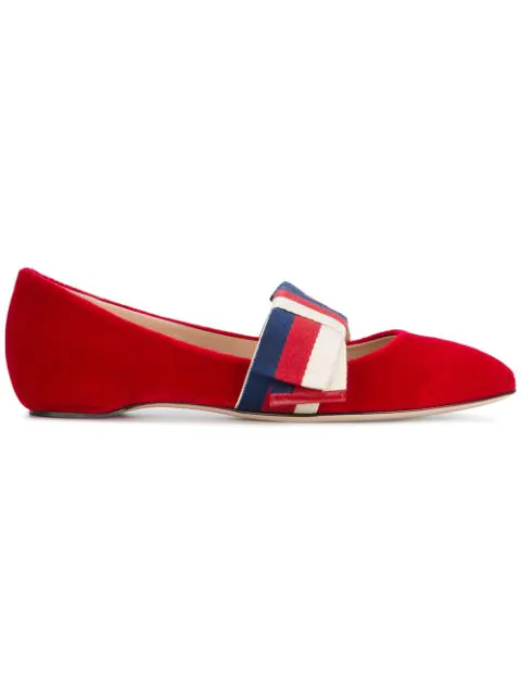 Gucci Velvet Ballet Flat With Sylvie Bow In Red