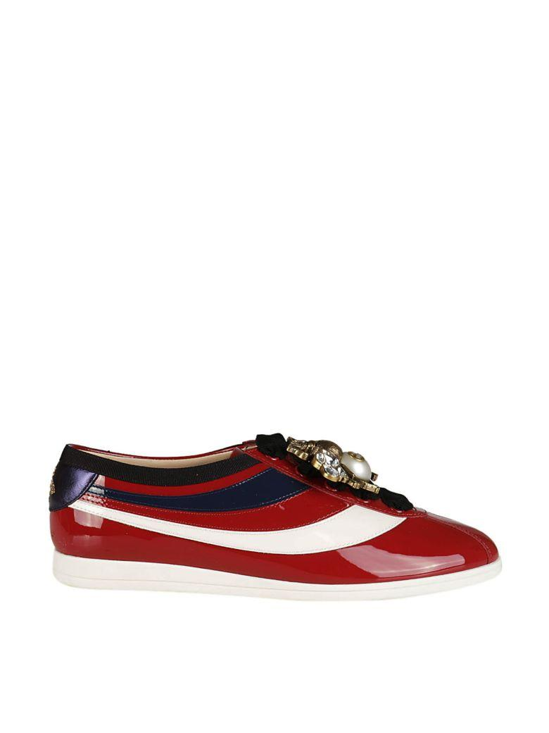 2b72d4f0d25 Gucci Falacer Patent Leather Sneaker With Web In Red