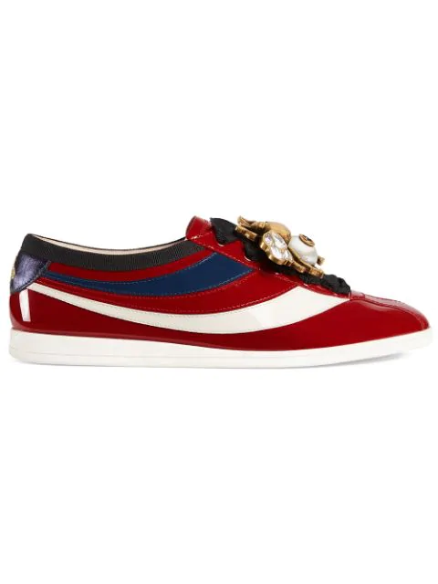 Gucci Falacer Patent Leather Sneaker With Web In Red