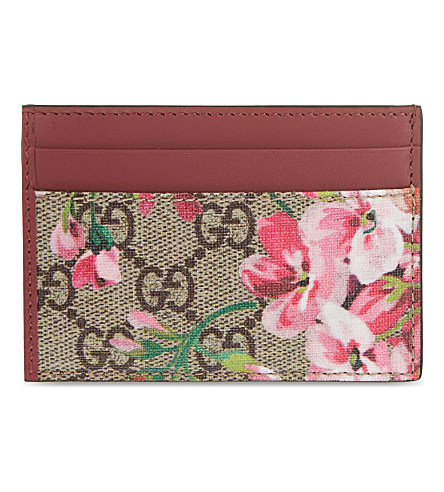 6b3889e80384a4 Gucci Leather Floral Print Card Holder In Pink Multi | ModeSens