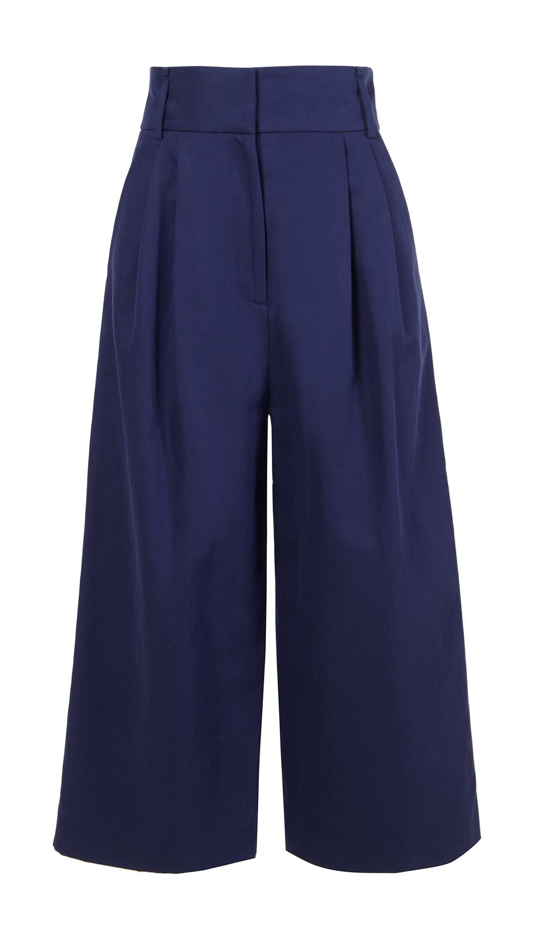 Tibi Navy Chassis Bianca Cropped Pants