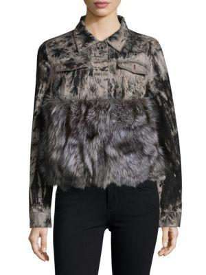 Adrienne Landau Real Fox Fur Denim Jacket In Grey