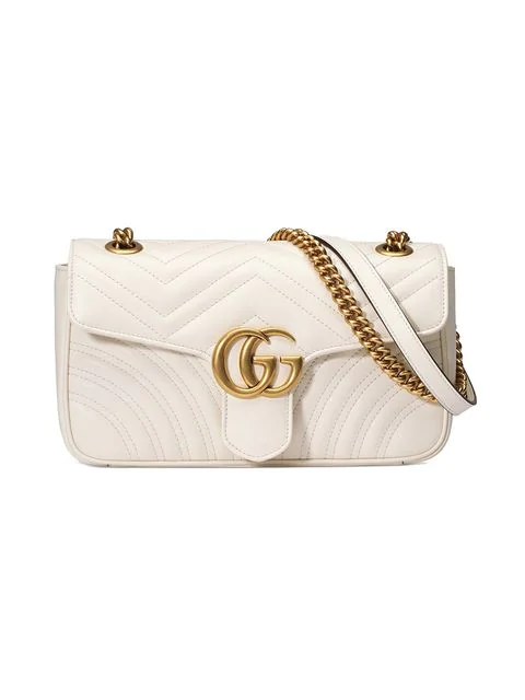 Gucci Small Gg Marmont 2.0 Matelasse Leather Shoulder Bag - White In 9022 Bianco