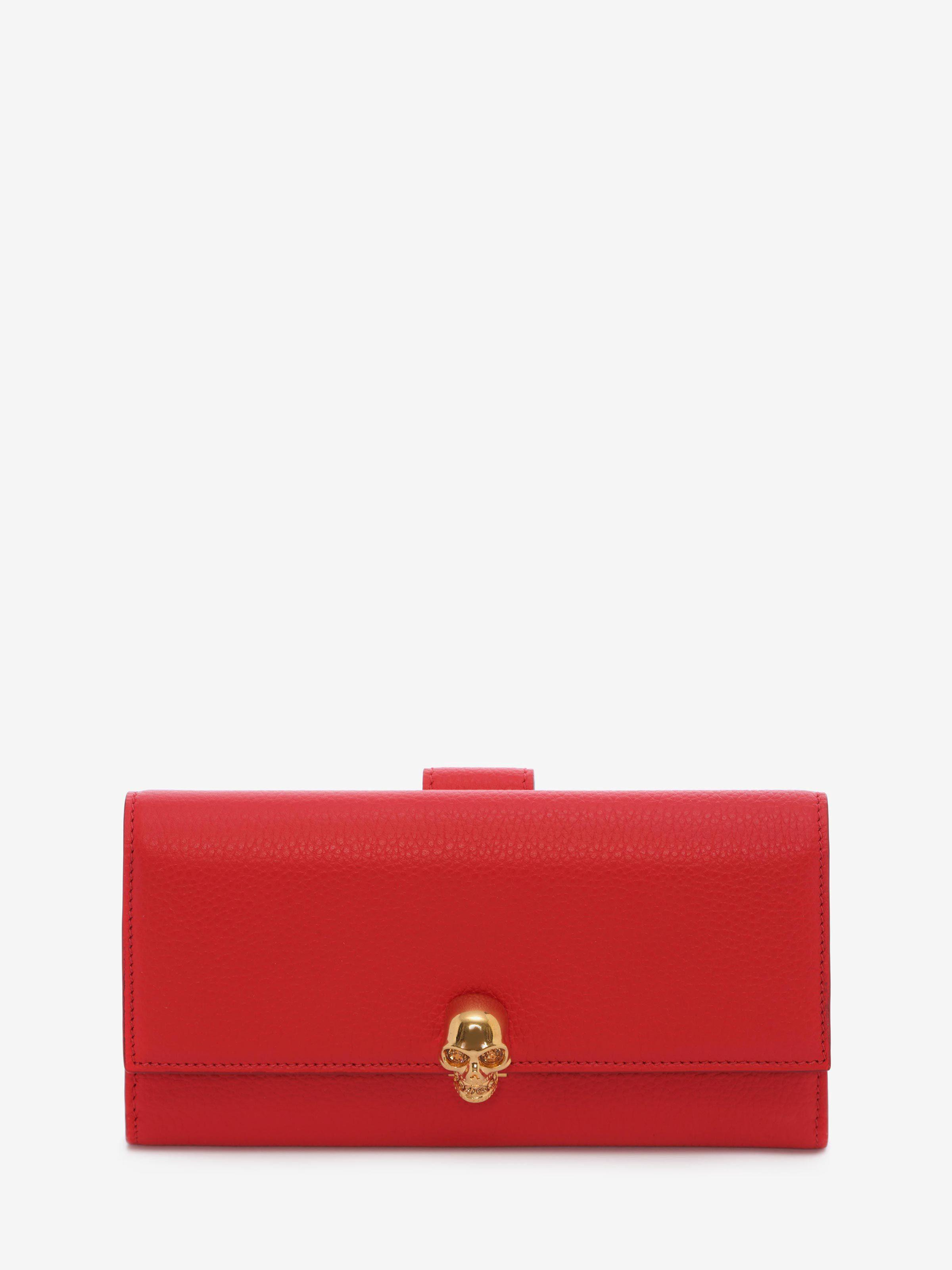 Alexander Mcqueen Continental Leather Skull Wallet In Red Gold