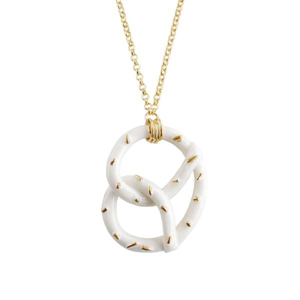 Poporcelain Golden Salted Porcelain Pretzel Pendant Necklace