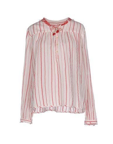 Scotch & Soda Textured Stripe Peasant Blouse In Red