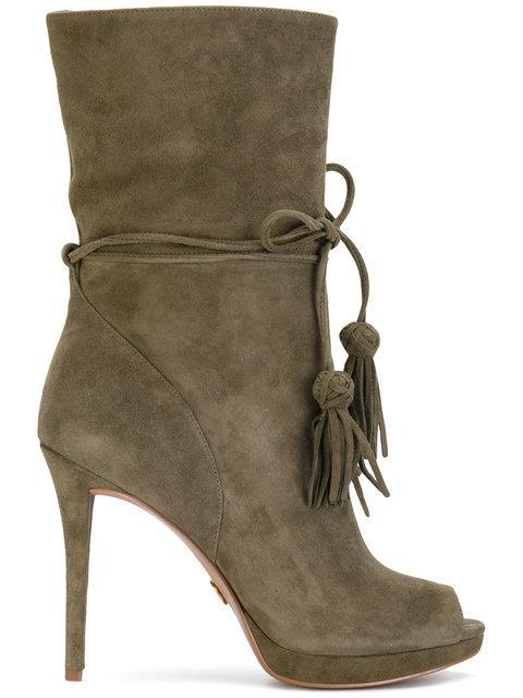 Michael Michael Kors Open Toe Boots In Green