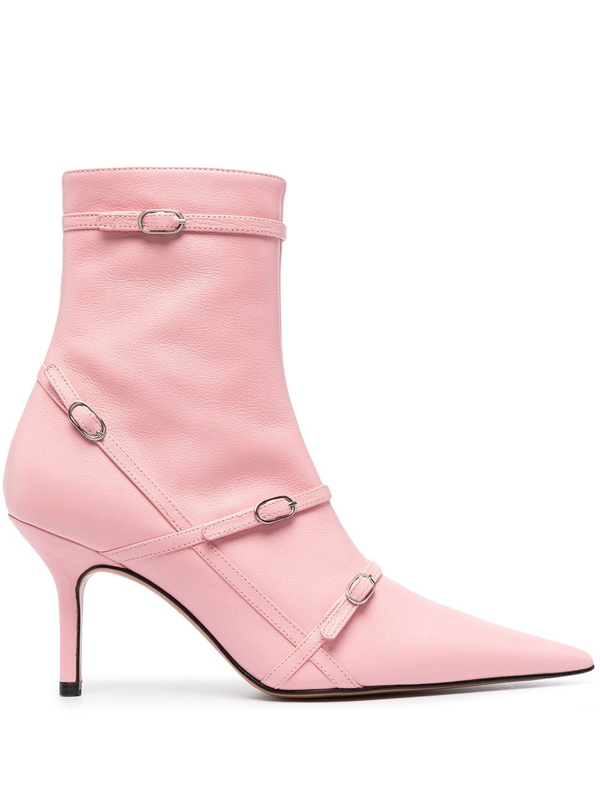 Abra Buckle Strap Pointed-toe Ankle Boots In Pink