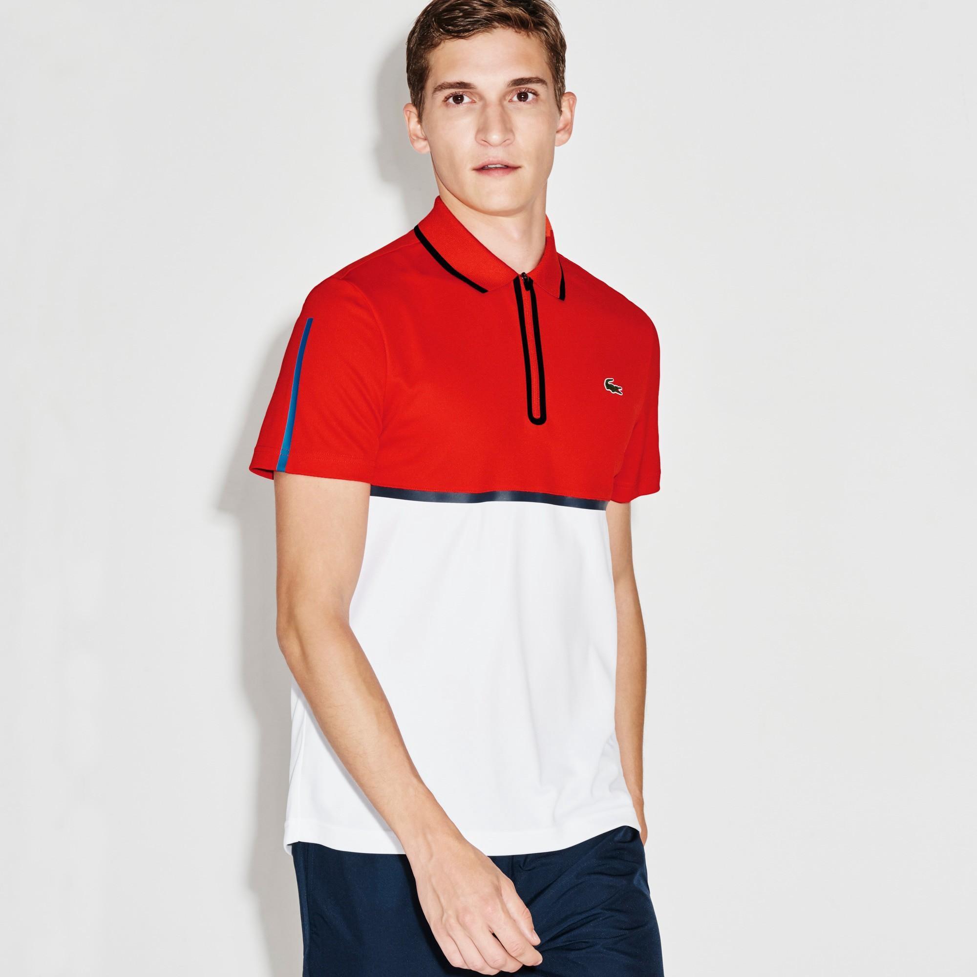 77dc8ed7 Lacoste Men's Sport Ultra Dry Zip Pique Knit Tennis Polo Shirt - Etna  Red/White