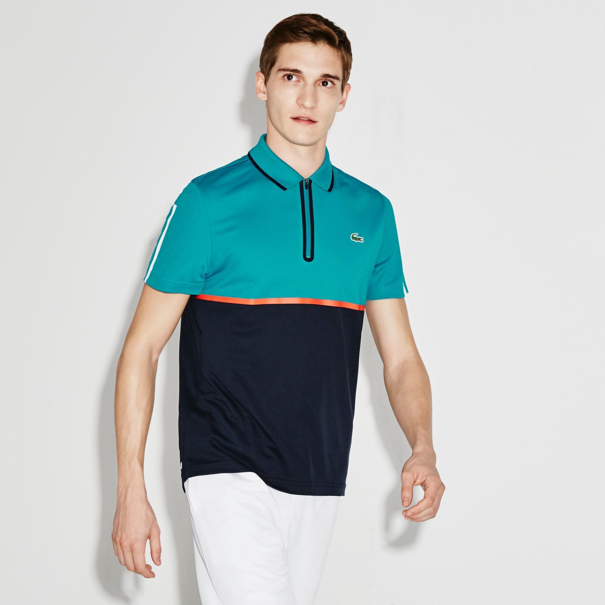 78fa6460 Lacoste Men's Sport Ultra Dry Zip Pique Knit Tennis Polo Shirt -  Oceanie/Navy Blue